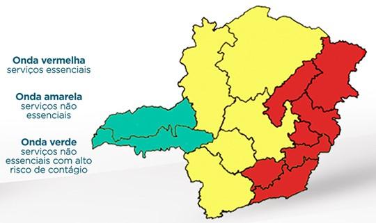 Metade de Minas Gerais está na onda vermelha, de alerta máximo para Covid-19