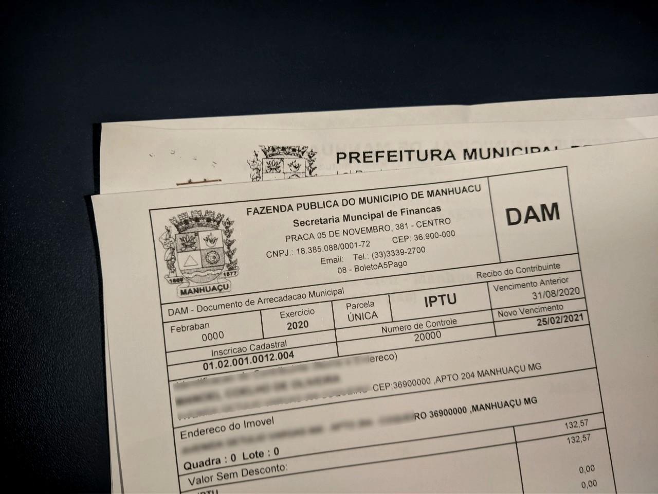 IPTU Manhuaçu tem reajuste de 4,52%