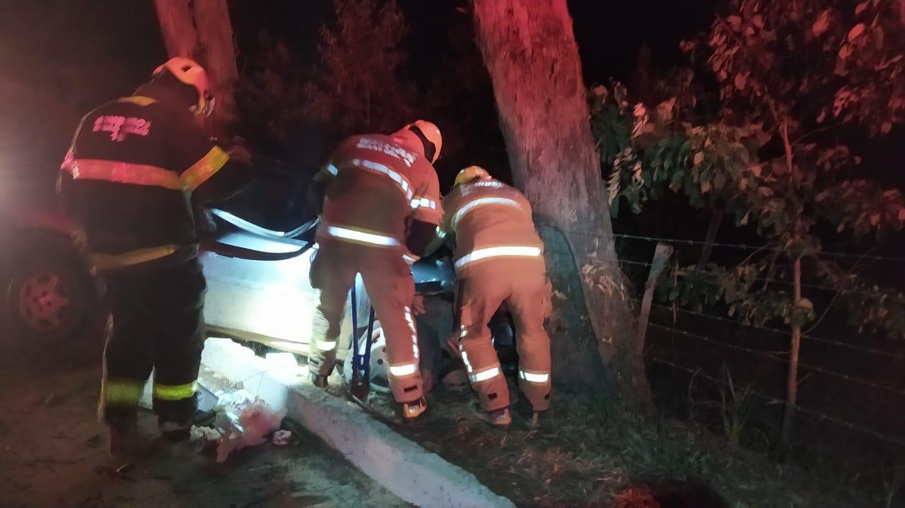 Motorista perde controle da direção e atinge árvore na BR-116