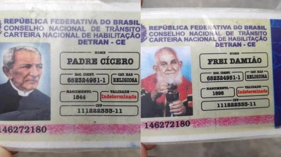 Idoso é parado em blitz e apresenta carteira de habilitação de Padre Cícero e Frei Damião
