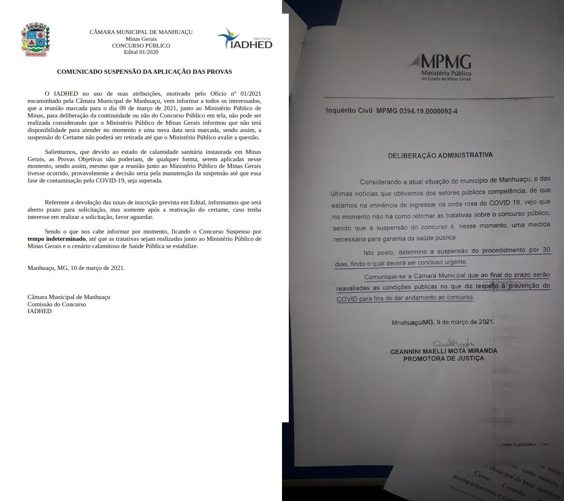 Prazo que suspende Concurso Público da Câmara Municipal de Manhuaçu terminou dia 09/04/2021
